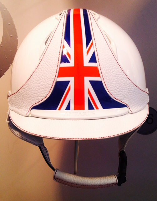 Antares custom British flag riding hat helmet